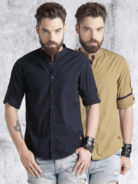 roadster pack of 2 solid casual shirts