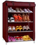 Buy Shoe cabinet, 4 Layer Maroon Shoe Rack Organizer