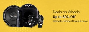 Deals On wheels Upto 80% off on helmets,gloves and more