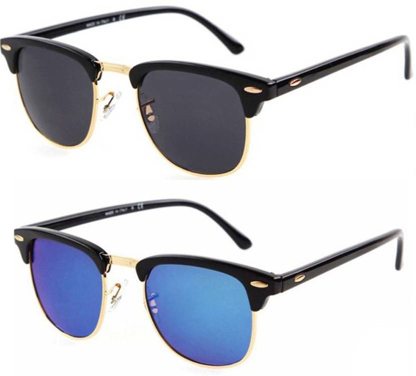 poloport combo_cm02_cm05 wayfarer sunglasses  (black, blue)
