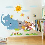 low price :decals design jungle cartoon cute animals wall sticker